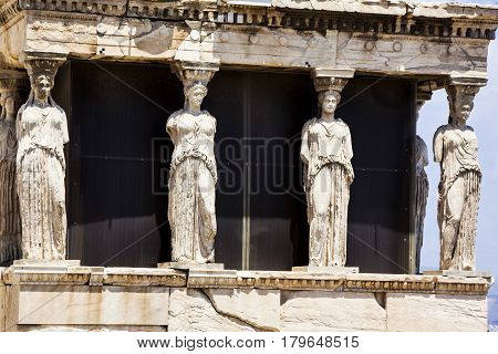 The Doric Temple Parthenon At Acropolis Hill. Athens, Greece. Detail On Statues.