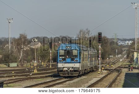 Train from Liberec in Turnov station in sunny morning