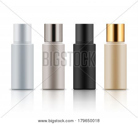 Mock-up of realistic plastic bottles. Empty and clean blank template for liquid cosmetic product: lotion, gel, shampoo and moisturizer. Vector illustration isolated on white background