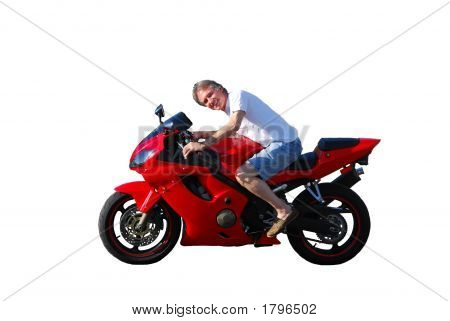 Man On Motorcycle - Isolated