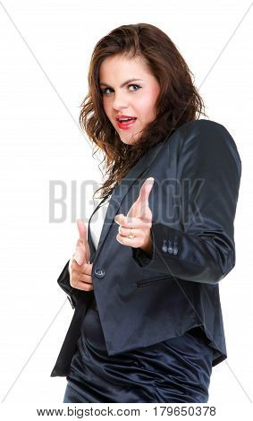 Modern Business Woman Smiling And Looking, Full Length Portrait Isolated