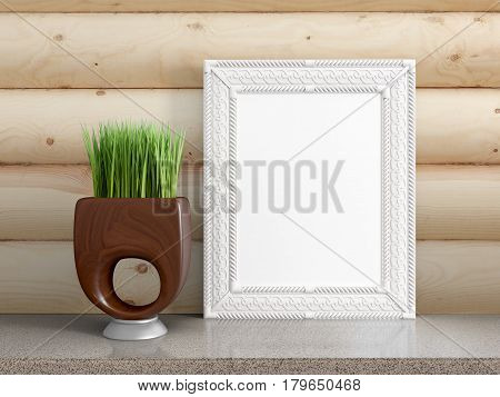 Mock up blank photo frame on the table. 3d rendering