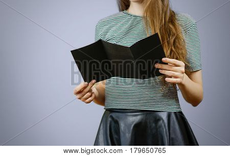 Woman Showing Trifold Blank Black Flyer Paper. Leaflet Presentation. Pamphlet Hold Hands. Girl Show