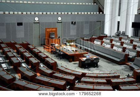 Canberra Australia - March 18 2017. Interior view of the House of Representatives in Parliament House Canberra Australia.