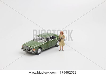 Tiny Small Business Figure With Car