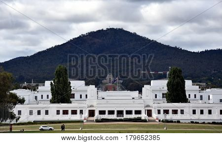 The view of Old Parliament House the National War Memorial and Mt Ainslie from the front courtyard of Parliament House Canberra Australia.
