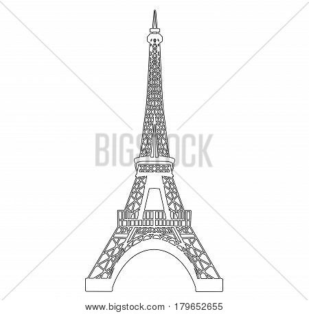Eiffel tower isolated on white vector illustration