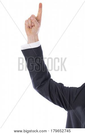 The index finger of a man s hand in a shirt is touching virtual screen on a white background, top view