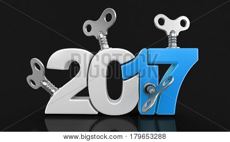 3D Illustration. New Year 2017 with winding keys. Image with clipping path.