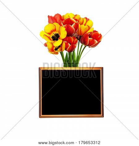 A photo frame on a bouquet of colorful tulips with a place to place your text