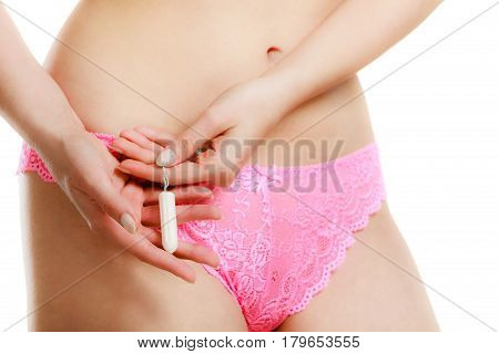 Mentruation Time. Girl With Hygienic Tampon.