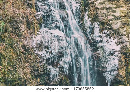 Iced waterfall in Aso city Travelling in Japan