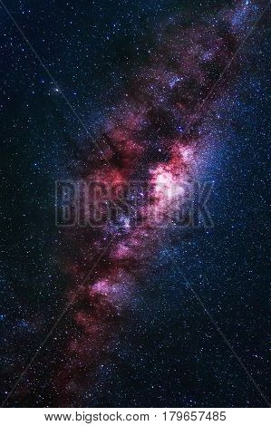 Universe Space Shot Of Milky Way Galaxy With Stars On A Night Sky Background