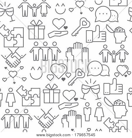 Different line style icons seamless pattern icons set Relationship