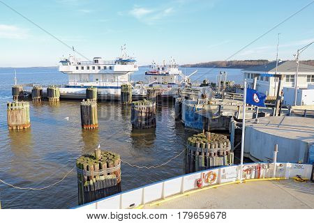 SCOTLAND VIRGINIA - FEBRUARY 20 2017: Ferry boat docked at the Jamestown-Scotland Ferry which runs between Jamestown Island and Surrey. This historic car ferry has been in operation since 1925.