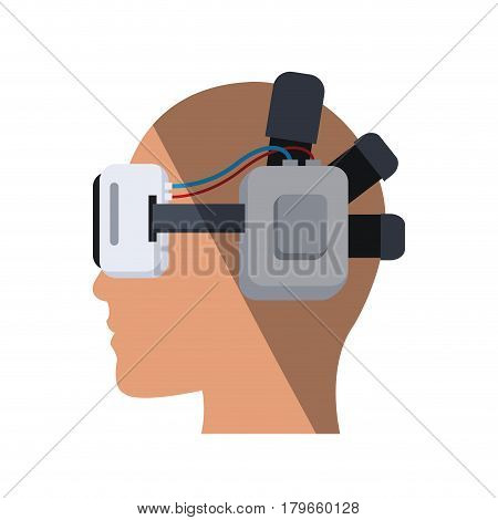 virtual reality headset over white background. colorful design. vetor illustration