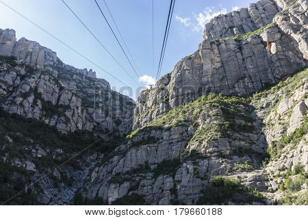 Cable-way of the Montserrat Monastery in Barcelona, Catalonia, Spain