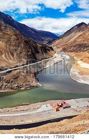 Confluence of Zanskar and Indus rivers the attract landmark in Leh Ladakh India.