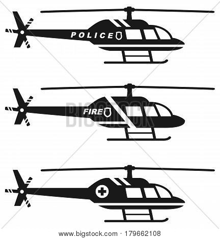 Silhouette illustration of medical police and fire helicopters on white background.