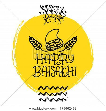 Card with text Happy Baisakhi. New year in Punjab. The celebration of the festival Baisakhi in India. Print for holiday. Vector illustration