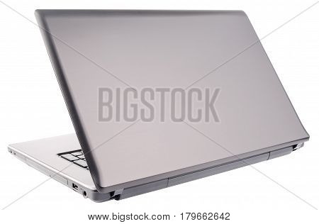 Notebook (laptop) with open cover rear view isolated on white background