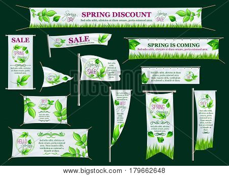 Spring sale season banner, poster stand, signboard and flag template. Fresh green branch round frame with leaf, grass and text layouts for springtime shopping street advertisement design