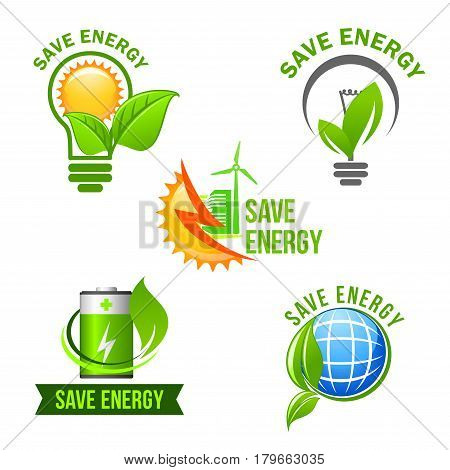 Green power and energy saving symbol set. Eco light bulb with green leaf and sun, solar panel and wind turbine energy, charge battery and earth globe with plant for ecology and renewable energy design