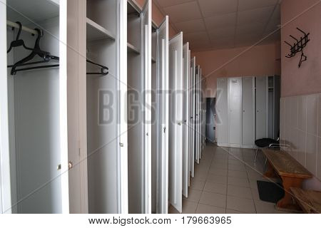 Open lockers in a cloakroom