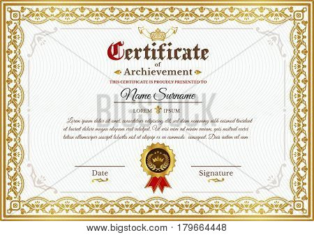Vector certificate template on awarding, design of certificate with golden vintage ornament on the contour and badge