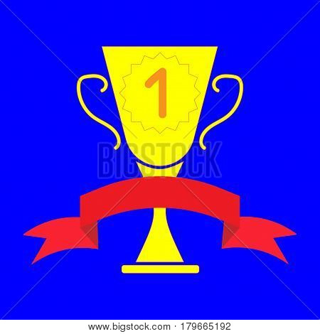 Cup winner sign. Symbol of prize. Golden trophy with red ribbon isolated on blue background. Achievement win mark. Concept of award. Modern art scoreboard. Stock vector illustration