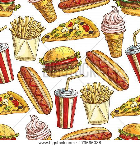Vector pattern of fast food hot dog, cheeseburger, pizza slice, french fries, sandwich, soda drink, ice cream. Fast food seamless pattern of sketch snacks, drinks, desserts on white background