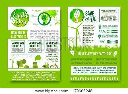 Save Earth vector design for Earth Day global nature conservation concept. Posters or infographics on air and water pollution, green energy and recycling for eco global environment