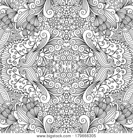 Symmetric ethnic outline black and white ornamental pattern with flowers and swirls. Vector illustration