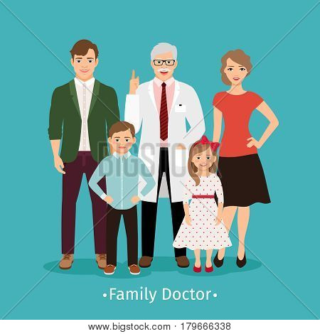 Family doctor vector illustration. Young happy patients and smiling practitioner portrait medicine concept