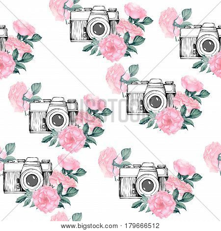Photo pattern with white background. Hand drawn seamless texture with Vintage retro photo camera in flowers leaves branches on white background. Hand drawn Vector illustration