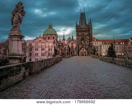 Charles Bridge at the sunrise, Prague, Czech Republic