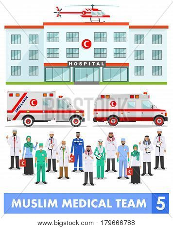 Detailed illustration of muslim arabic medical staff people medical helicopter ambulance cars and hospital building in flat style on white background. Practitioner arabic doctors man and woman standing.