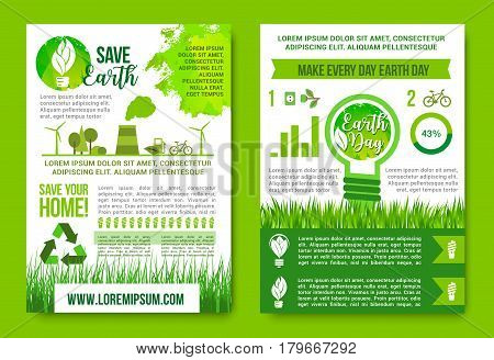 Earth Day vector posters or infographics for green energy and recycling concept. Save Earth design of nature trees or eco forest and symbols of global environment pollution and ecology conservation