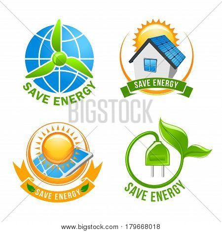 Save energy icon set. Solar energy panel with sun, green eco house with photovoltaic system on roof, earth globe with wind turbine and green plant with leaf electric plug. Ecology, eco power design