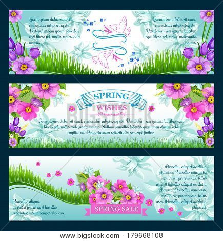 Spring time vector bannrers for spring holidays greeting card design. Springtime pink flowers bunch and blooming bouquets design on green