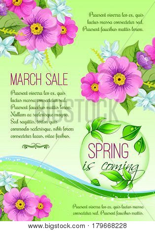 Spring time vector poster for spring holidays shopping sale discount season. Springtime crocuses and daffodils flowers bunch design on green background