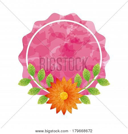 pink seal stamp with beautiful flowers icon over white background. colorful design. vector illustration