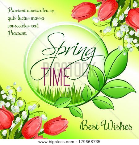 Spring holidays vector greeting card with flowers and springtime blooming nature. Spring time seasonal best wishes template with tulips and lily of valley floral bunches on sunny meadow grass