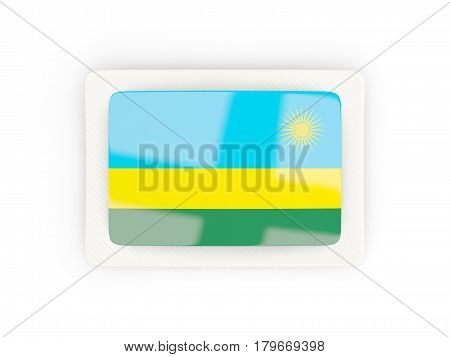 Rectangular Flag Of Rwanda With Carbon Frame