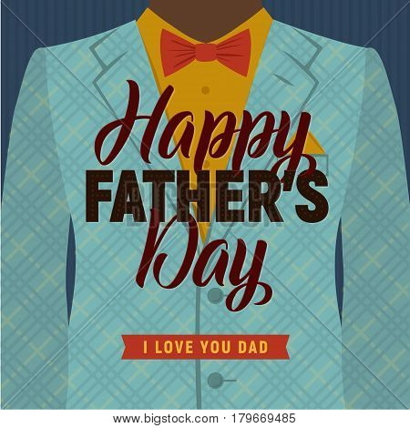 Father's Day Greeting Card. Black man in a suit with Bow Tie. Retro Style. Vector Illustration.