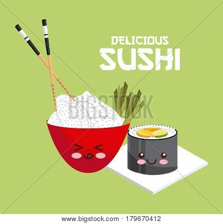 kawaii sushi and rice bowl with chopsticks over green background. colorful design. vector illustration