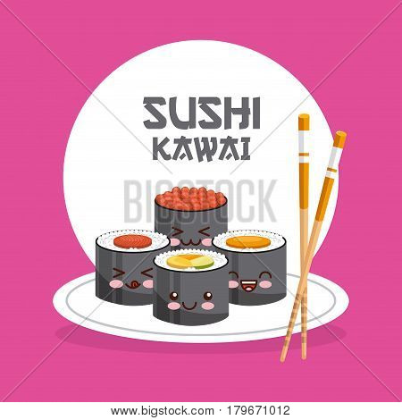 kawaii sushi dish and chopsticks icon over pink background. colorful design. vector illustration