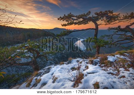 Winter landscape photo at sunset with view on river Drina canyon from Tara mountain Serbia.