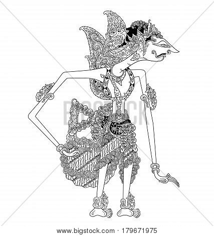 Citramuka, a character of traditional puppet show, wayang kulit from java indonesia.