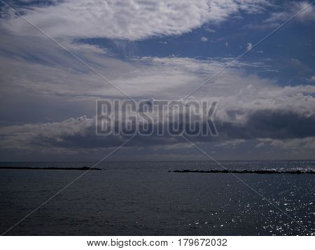 Mediterranean Sea, Cloudy sky, Tranquil scene with a sea view, horizon